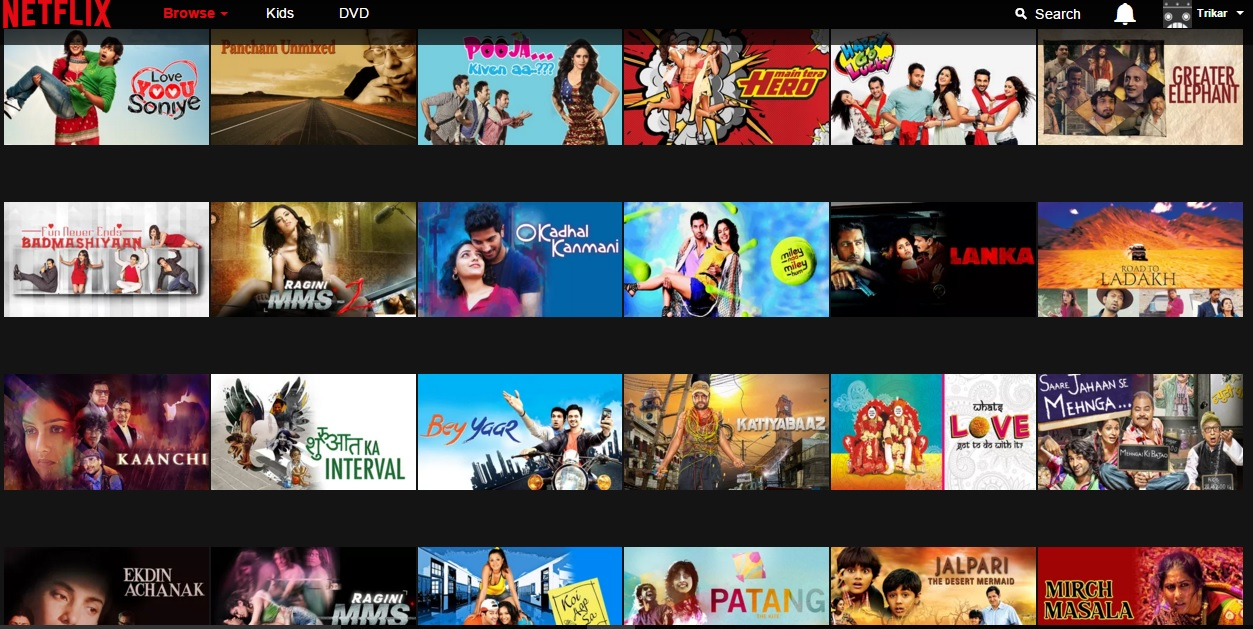 Bollywood movies in netflix